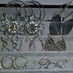 Earrings Lot 9 Pair Silver Tone Mix Bulk Dangle +